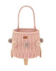 Wiklibox Pully kosz wiklinowy na zabawki różowy z ciemnobeżowymi i szarymi pomponami - zdjęcie nr 1