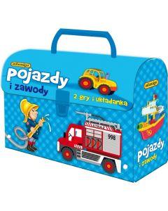 Pojazdy i zawody w kuferku Adamigo - zestaw gier edukacyjnych - zdjęcie 1
