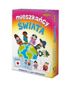 Mieszkańcy świata Adamigo - układanka edukacyjna, gra geograficzna dla dzieci - zdjęcie 1