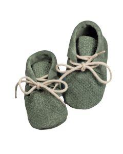 Buciki niemowlęce niechodki Babice mokasynki zamszowe zielone - zdjęcie 1