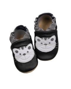 Buciki dziecięce baBice skórzane z kotkiem - zdjęcie 1