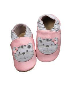 Buciki dziecięce baBice skórzane z kotkiem - zdjęcie 3