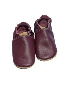 Buciki kapcie dziecięce baBice skórzane burgund - zdjęcie 1