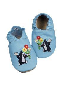 Buciki niemowlęce baBice kapcie skórzane z krecikiem - zdjęcie 1