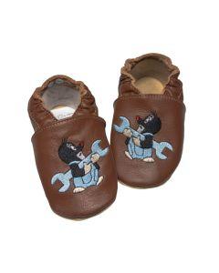 Buciki niemowlęce baBice kapcie skórzane z krecikiem brązowe - zdjęcie 1