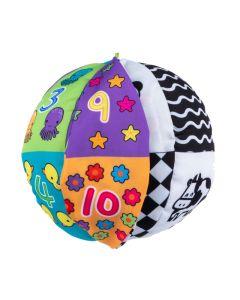 Piłka kontrastowa dla niemowląt Balibazoo dwustronna ze wstążeczkami - zdjęcie 1