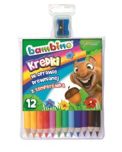 Kredki dla dzieci trójkątne Bambino 12 kolorów temperówka - zdjęcie 1