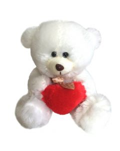 Maskotka Miś z sercem biały Beppe 18cm - zdjęcie 1