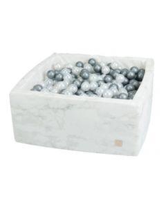 Misioo basen suchy Velvet Soft kwadrat biały marmurek - zdjęcie 1
