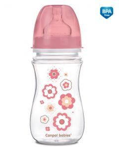 Butelka antykolkowa Canpol 240ml różowe kwiatki 3M+