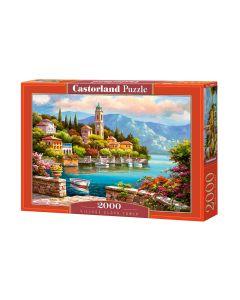 Puzzle piękne Miasteczko nad jeziorem wieża zegar Castorland 2000 el. - zdjęcie 1