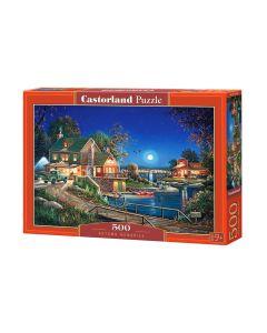 Puzzle domek nad jeziorem jesień Castorland 500 el. - zdjęcie 1