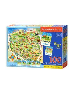 Puzzle edukacyjne Mapa Polski Castorland 100 + Quiz karty edukacyjne - zdjęcie 1