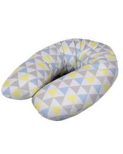 Cebuszka poduszka dla mamy i maluszka Ceba trójkąty niebiesko-żółte dżersej