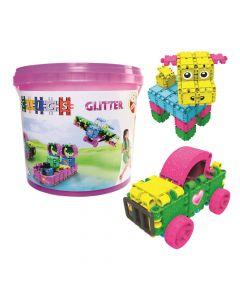 Klocki dla dziewczynki wiaderko 8w1 Clics Glitter CB180 - zdjęcie 1