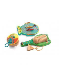 Zestaw instrumentów muzycznych dla dzieci kastaniet, guiro i tamburyn - zdjęcie 1