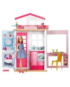 Domek dla lalek Barbie 2-poziomowy + lalka Mattel