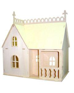Drewniany składany domek dla lalek puzzle 3D - sklep - zdjęcie 1