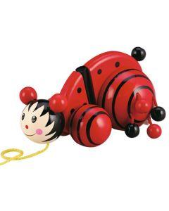 Drewniana zabawka biedronka do ciągania