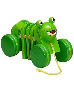 Drewniana żabka do ciągania dla rocznego dziecka