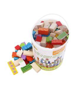 Klocki zestaw 100 klocków drewnianych dla dzieci - zdjęcie 1