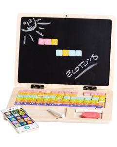 Drewniany laptop dla dzieci tablica kredowo-magnetyczna - zdjęcie 1