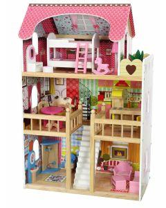 Domek dla lalek Rezydencja Malinowa - drewniany, uroczy, dla dziewczynki - zdjęcie 1