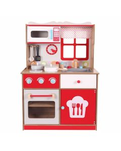 Duża kuchnia drewniana dla dzieci z wyposażeniem - zdjęcie 1