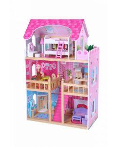 Drewniany domek dla lalek nowa rezydencja malinowa + lalki