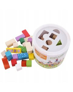 Drewniane klocki dla dzieci 50 sztuk sorter w wiaderku - zdjęcie 1