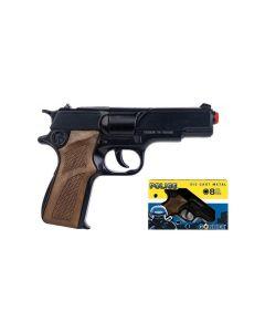 Pistolet dla dzieci Gonher zabawkowy na kapiszony czarny policyjny