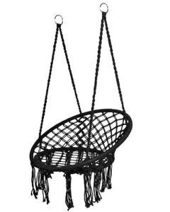 Huśtawka bocianie gniazdo - fotel wiszący czarny - zdjęcie 1