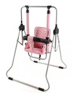 Huśtawka stojąca rozkładana dziecięca do 20 kg Luna różowa - zdjęcie 1