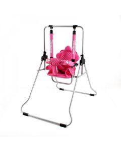 Huśtawka wolnostojąca rozkładana do 20 kg różowa groszki - zdjęcie 1