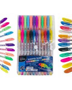 Kolorowe długopisy żelowe fluorescencyjne i z brokatem - zapachowe Kidea 24 sztuki zdjęcie 1
