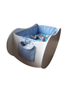 Drewniana kołyska dla niemowląt z kompletem pościeli niebieskim lub różowym