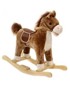 Interaktywny koń na biegunach brązowy