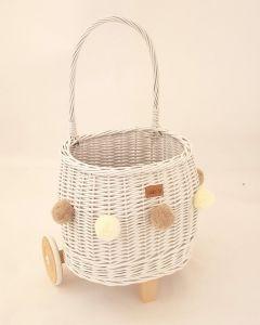 Wiklibox Pully kosz wiklinowy na zabawki biały z ciemnobeżowymi pomponami  - zdjęcie nr 1