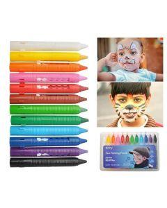 Kredki do malowania twarzy dla dzieci - zestaw 12 sztuk - zdjęcie 1