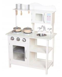Kuchnia dla dzieci drewniana z akcesoriami biała - zdjęcie 1