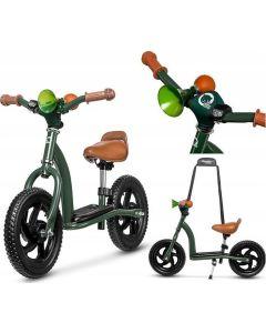 Rowerek biegowy 2w1 z hulajnogą Lionelo Roy Military Green