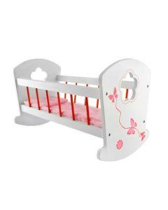 Łóżeczko dla lalek drewniane z pościelą - zdjęcie 1