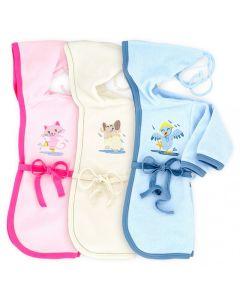 Szlafrok niemowlęcy z kapturkiem Makoma różowy niebieski 92-98