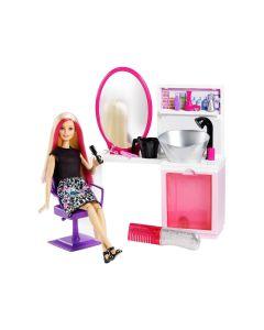 Lalka Barbie Brokatowy salonik fryzjerski blondynka Mattel + akcesoria