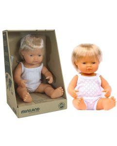 Hiszpańska lalka chłopiec Europejczyk blondyn 38 cm Miniland - zdjęcie nr 1