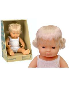 Hiszpańska lalka z winylu Europejka 38 cm Miniland blondynka  - zdjęcie 1