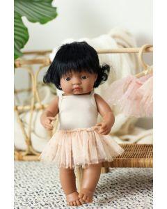Miniland ubranko dla lalek 38 cm - Strój Baletnicy Beżowy : Body i Spódniczka - zdjęcie 1
