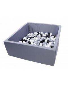 Misioo Velvet Soft suchy basen  z piłeczkami kwadrat Szary  - zdjęcie 1