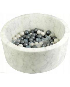 Misioo Suchy basen z piłeczkami Okrągły Velvet Soft Biały Marmurek - zdjęcie 1
