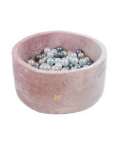 Misioo Velvet Soft suchy basen z piłeczkami okrągły Różowy  - zdjęcie 1